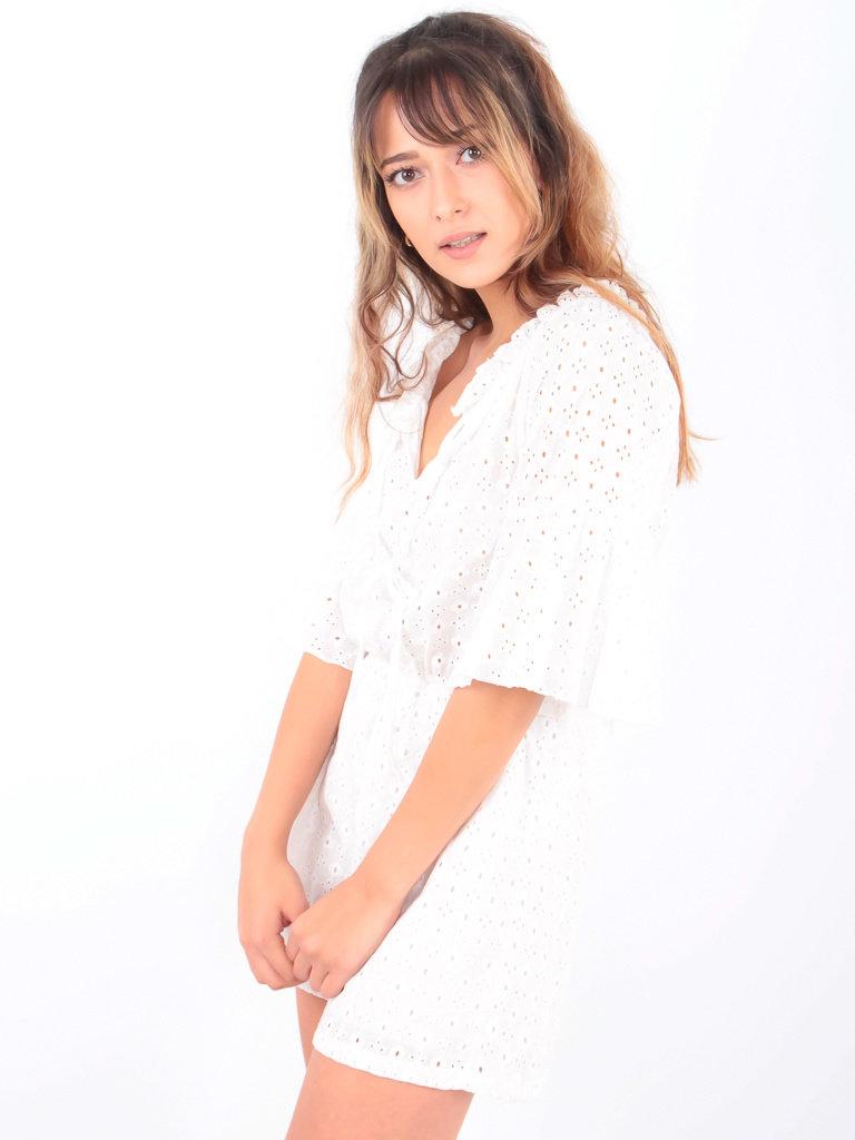 LADYLIKE FASHION Broderie Anglaise Bardot Playsuit White