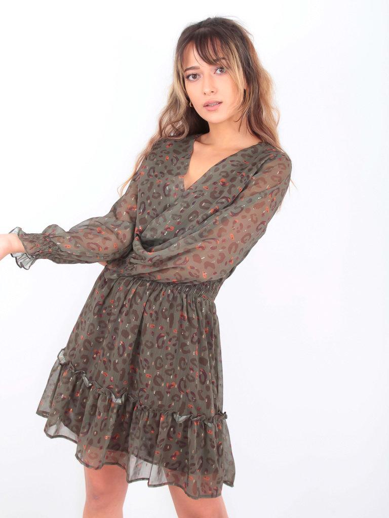DRŌLE DE  COPINE-  LADYLIKE FASHION Leopard Print Dress Green