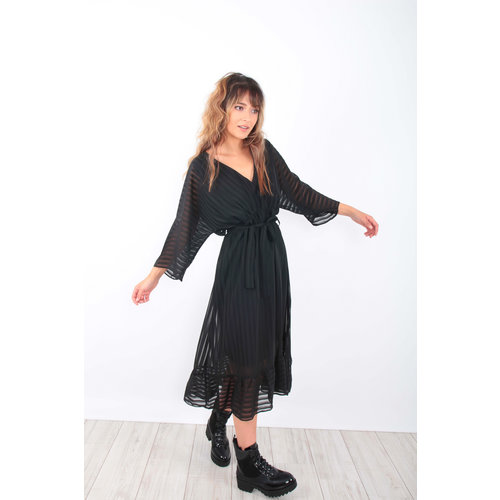 LADYLIKE FASHION Maxi Kimono Sleeve Dress Black