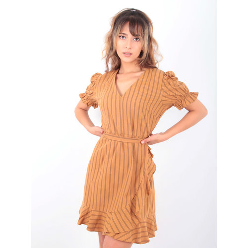 EIGHT PARIS Striped Dress Puffed Sleeve Camel