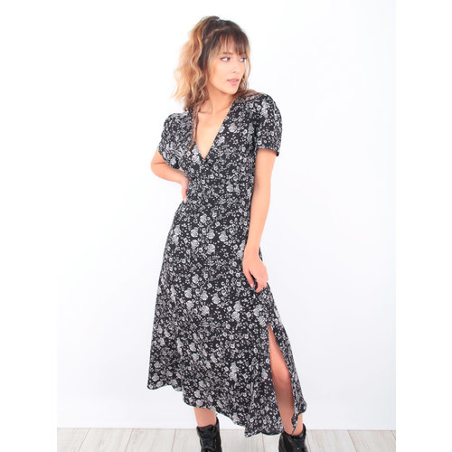 EIGHT PARIS Maxi Floral Print Dress Black