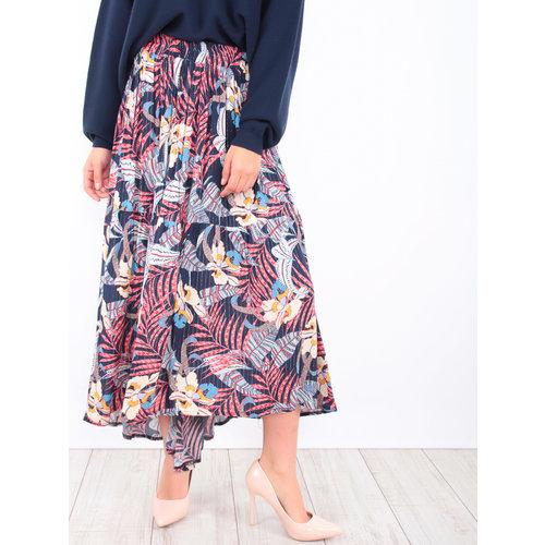 LADYLIKE FASHION Maxi Floral Print Skirt Blue