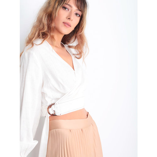 EIGHT PARIS Wrap Crop Blouse White