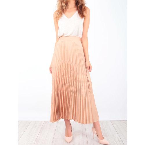 Ladylike Pleated Satin Maxi Skirt Camel