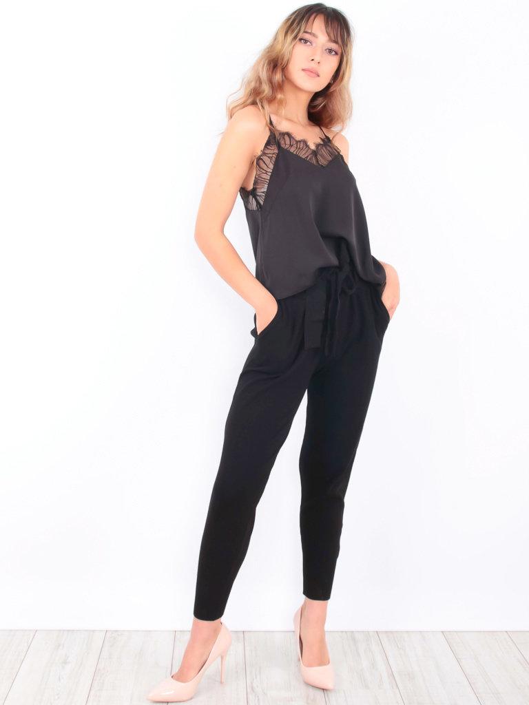 LAETITIA MEM - LADYLIKE FASHION Belted Knitted Jogger Black