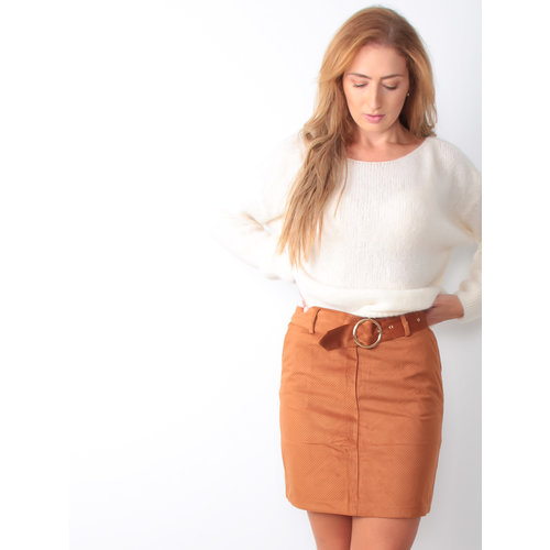 Ribbed Camel Belt Skirt