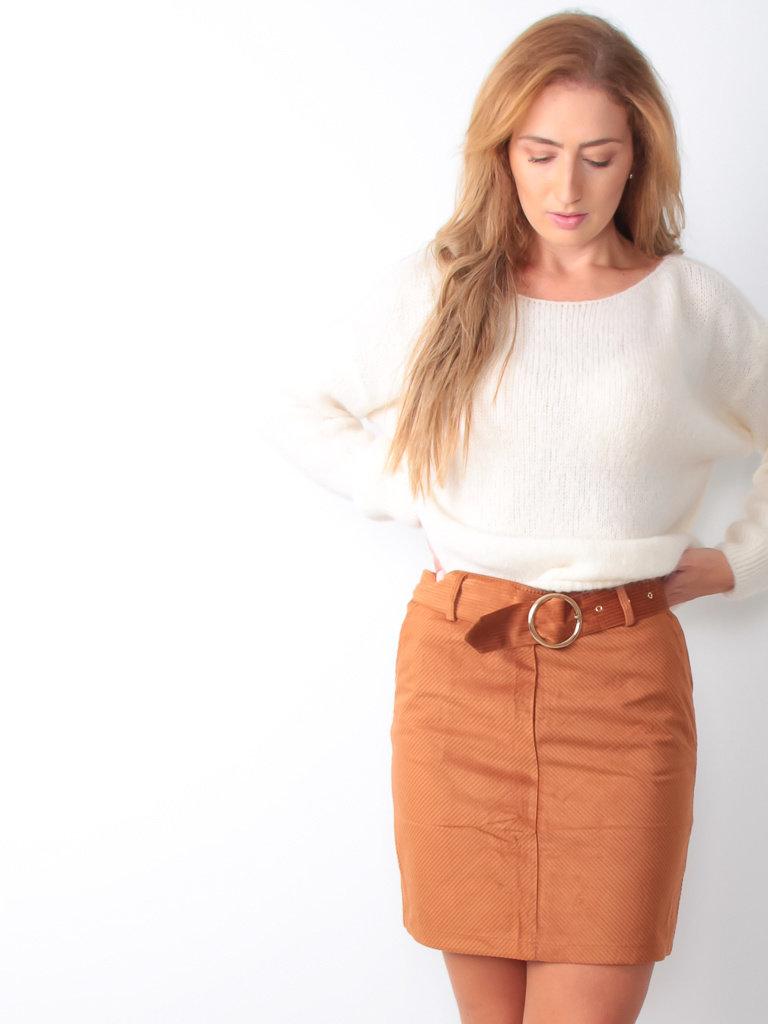 MADSTER Ribbed Camel Belt Skirt