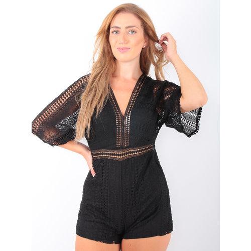 LUC & CE Lace Playsuit V-Neck Black