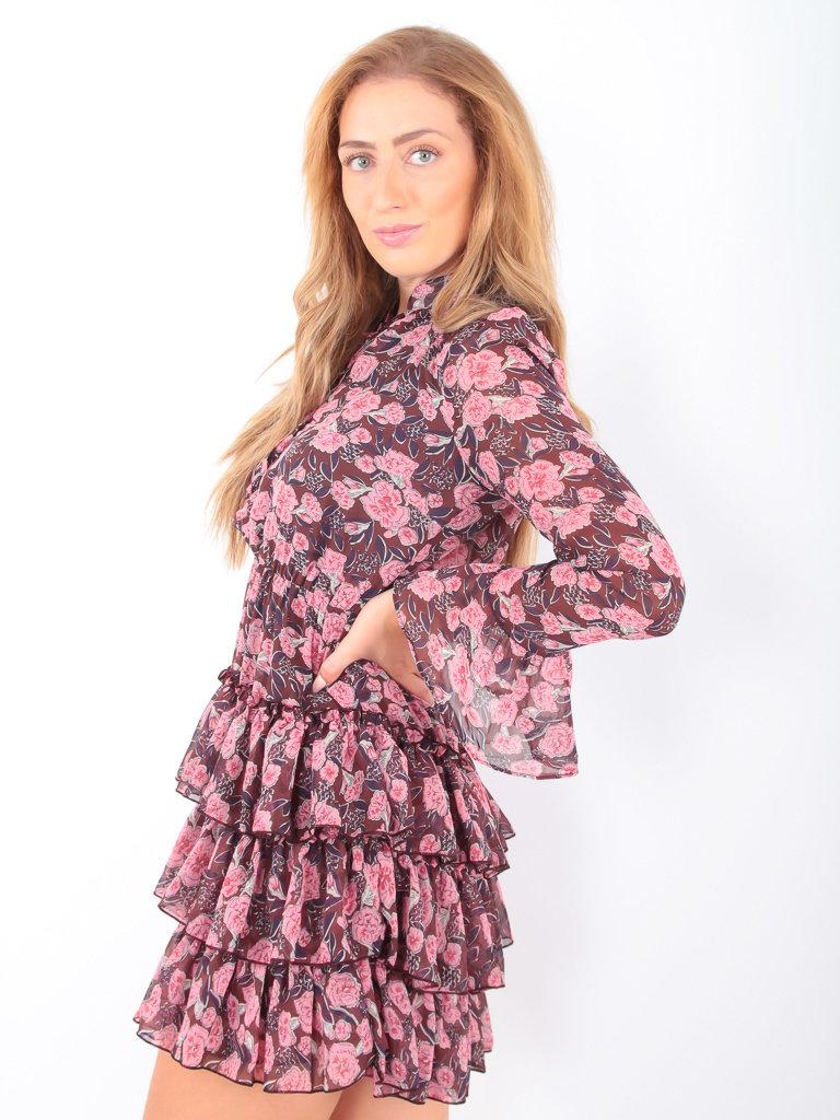 IVIVI Rose Print Dress Brown