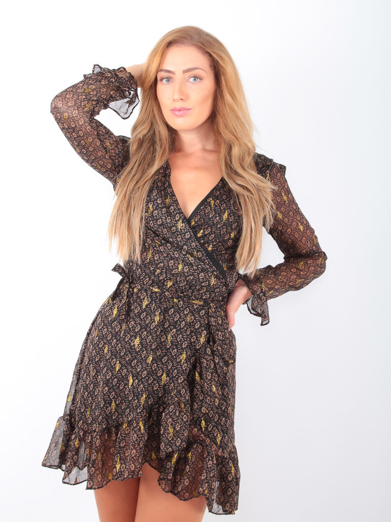 BY CLARA - LADYLIKE FASHION Beige Print Gold Detail Dress Brown