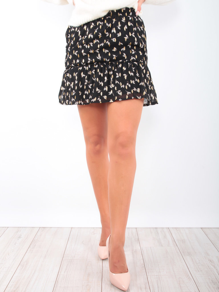 BY CLARA Leaf Print Gold Detail Skirt Black