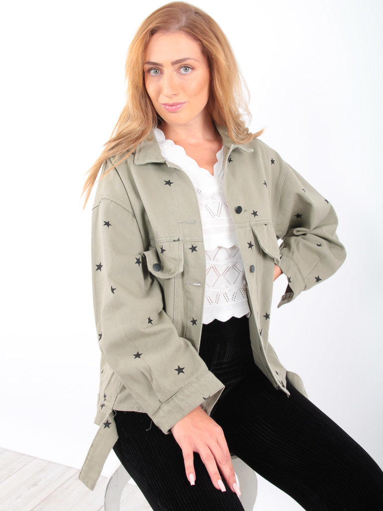 KAYCEE - LADYLIKE FASHION Star Jacket Green