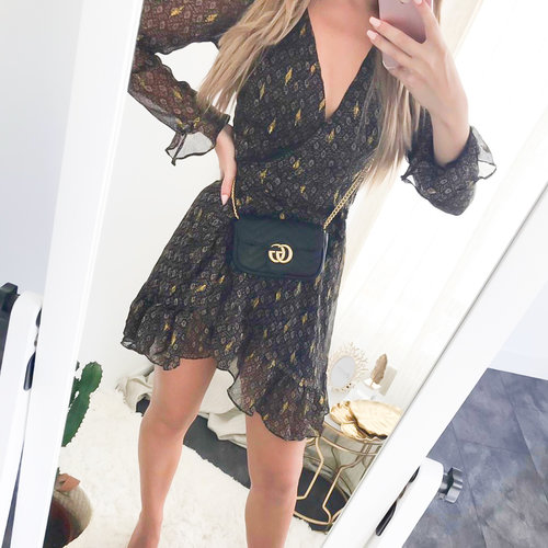 BY CLARA Beige Print Gold Detail Dress Brown