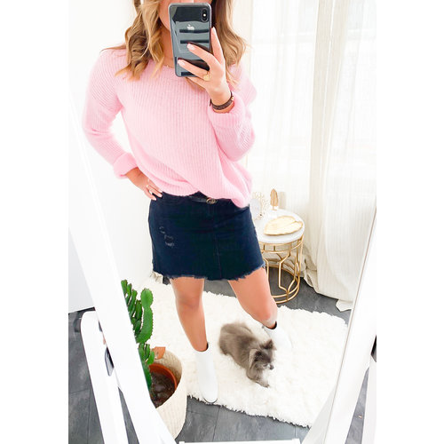 LADYLIKE FASHION Soft Boxy Knit Jumper Baby Pink