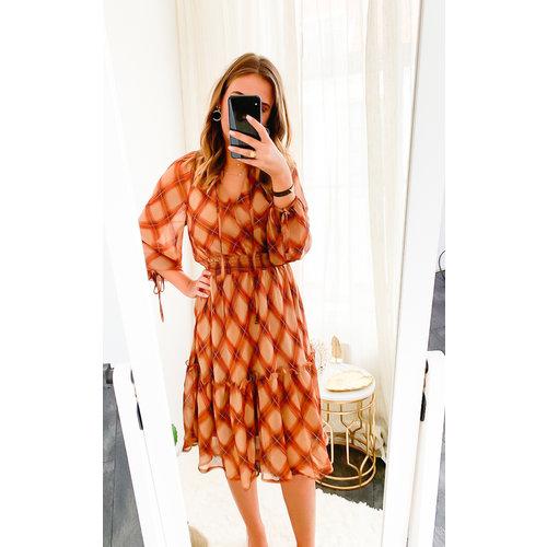 MISSKOO Tartan Printed Dress Brown