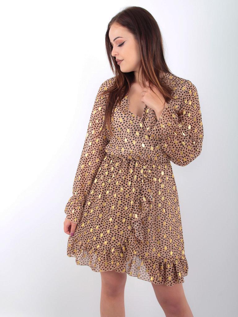 FLAMANT ROSE - LADYLIKE FASHION Ruffle Dress Gold Brown