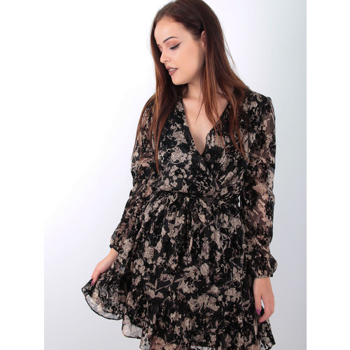 Gold Leaves Print Dress Black