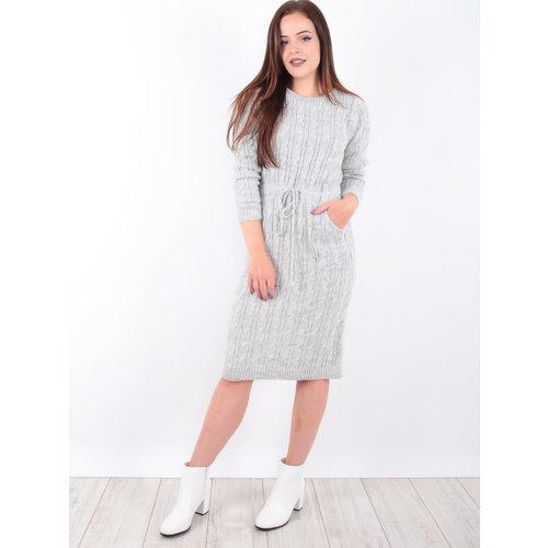 LADYLIKE FASHION Cable Knit Dress Grey