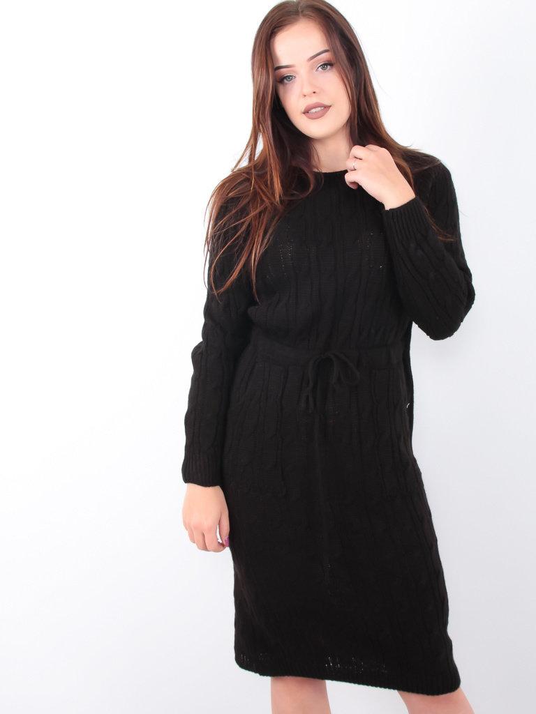 LADYLIKE FASHION Cable Knit Dress Black