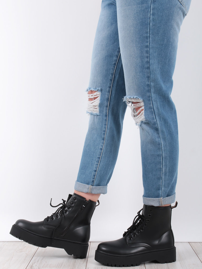 LADYLIKE FASHION Chunky Lace Up Ankle Boot Black