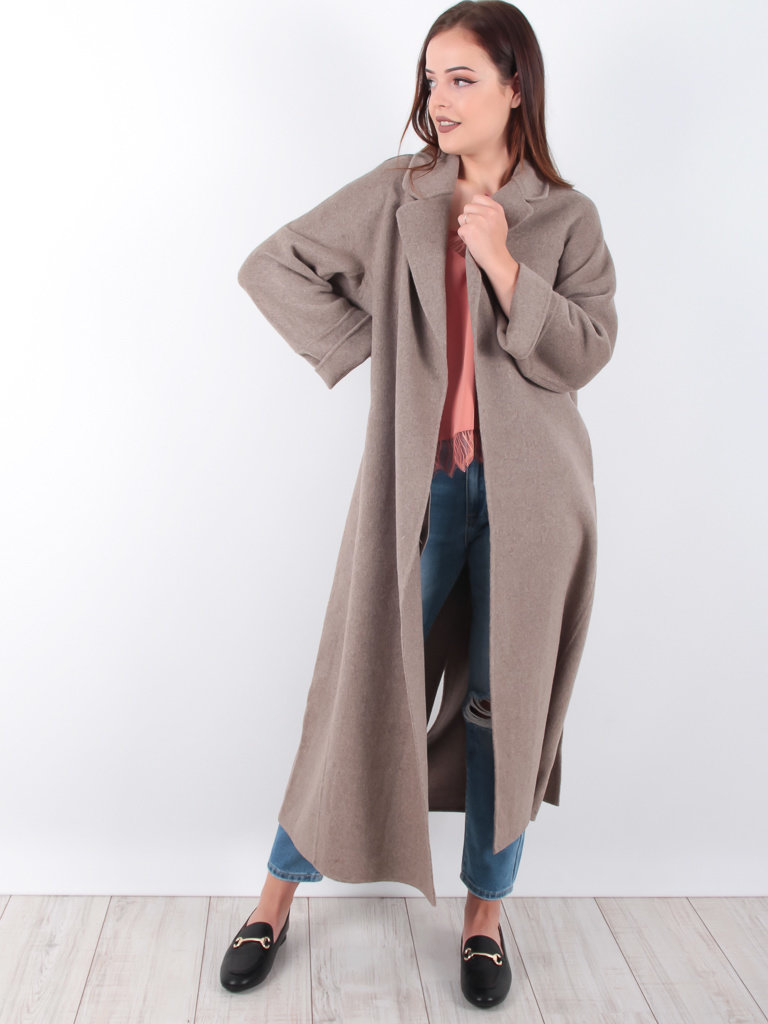 Classic Long Coat Wool Taupe