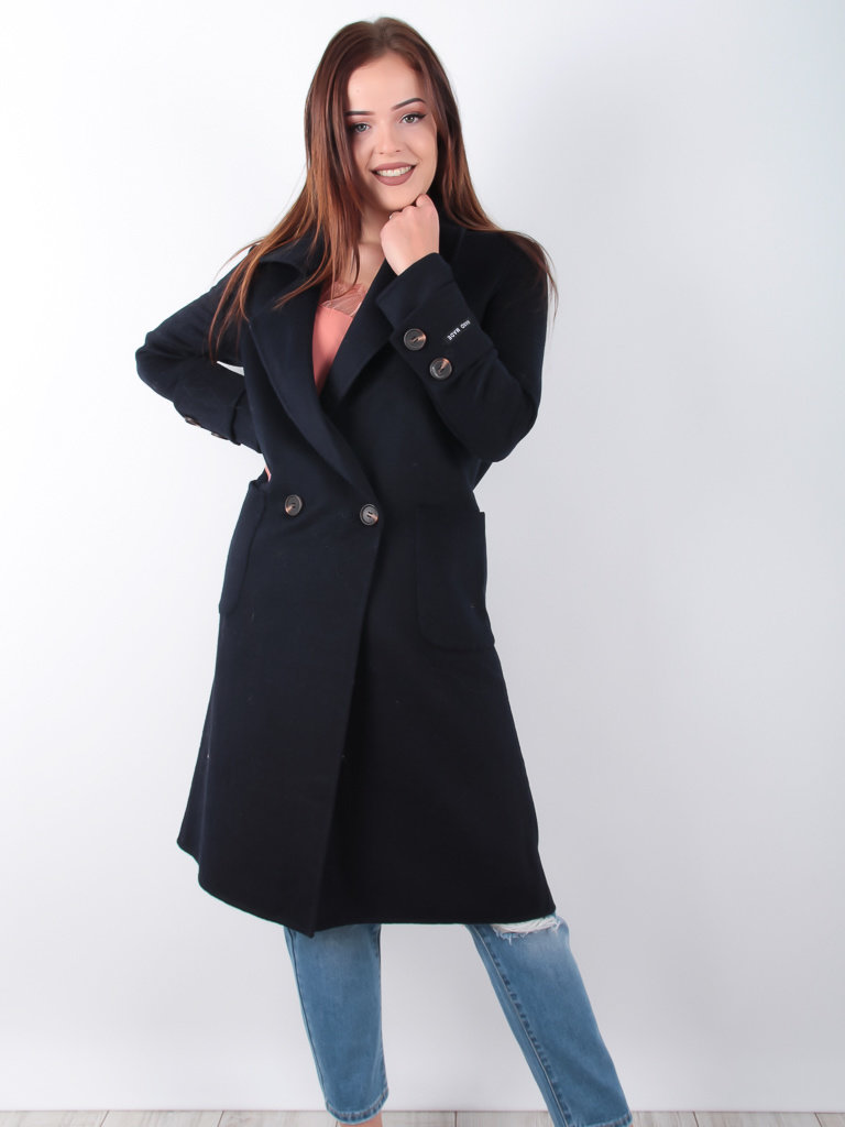 CIMINY Long Wool Coat Blue
