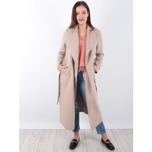 CIMINY Long Wool Coat Beige