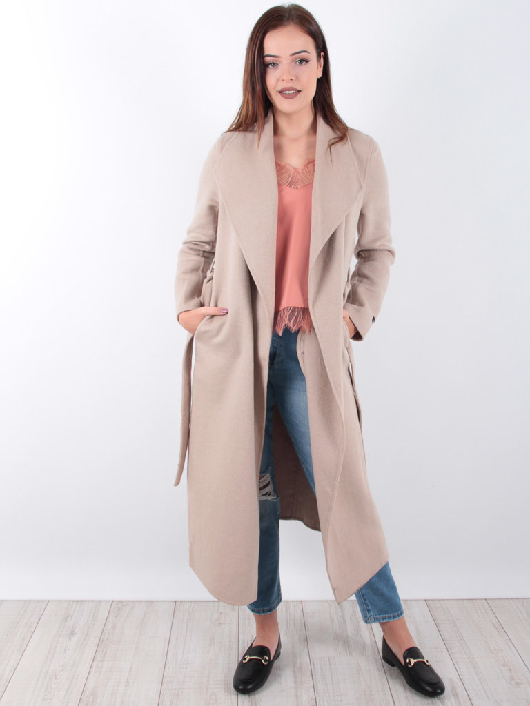 CIMINY - LADYLIKE FASHION Long Wool Coat Beige