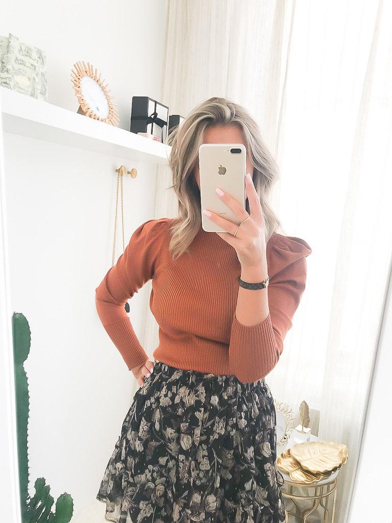 YU & ME Jumper Puff Sleeve Orange