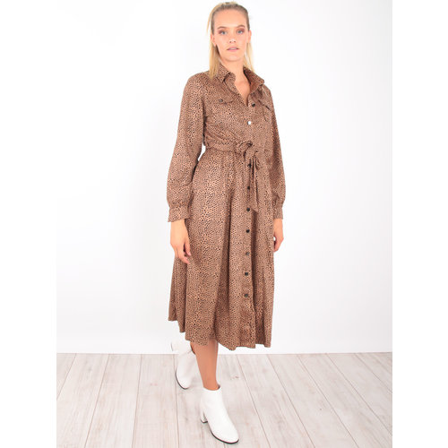 DRŌLE DE  COPINE Maxi Dress Cheetah Camel