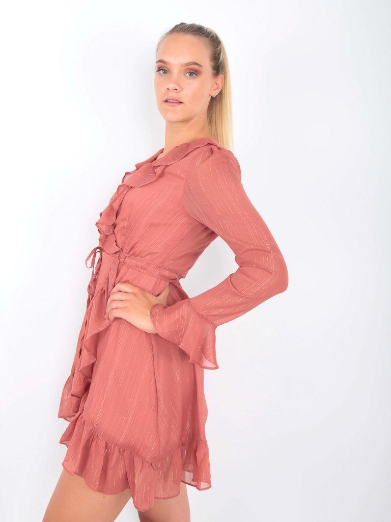 Golden Live Wrap Dress Ruffle Shimmer Rose