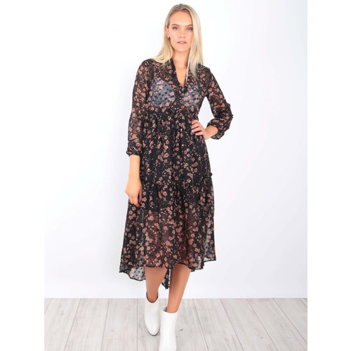 KILIBBI Maxi Dress Sheer Floral Black