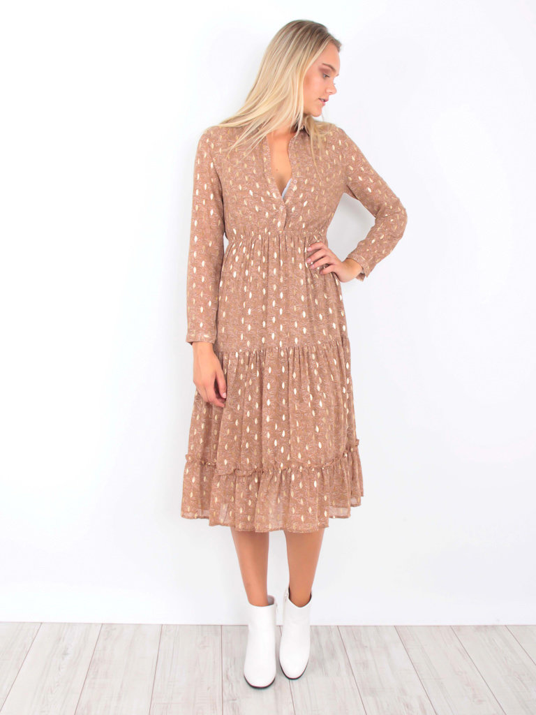 Maxi Dress Gold Detail Print Taupe