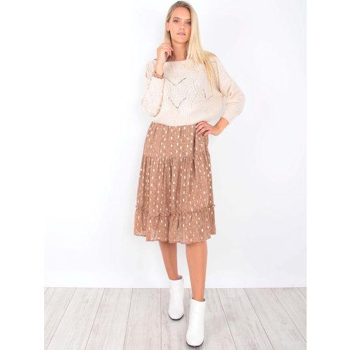 VINTAGE DRESSING Knit Crop Jumper Ecru