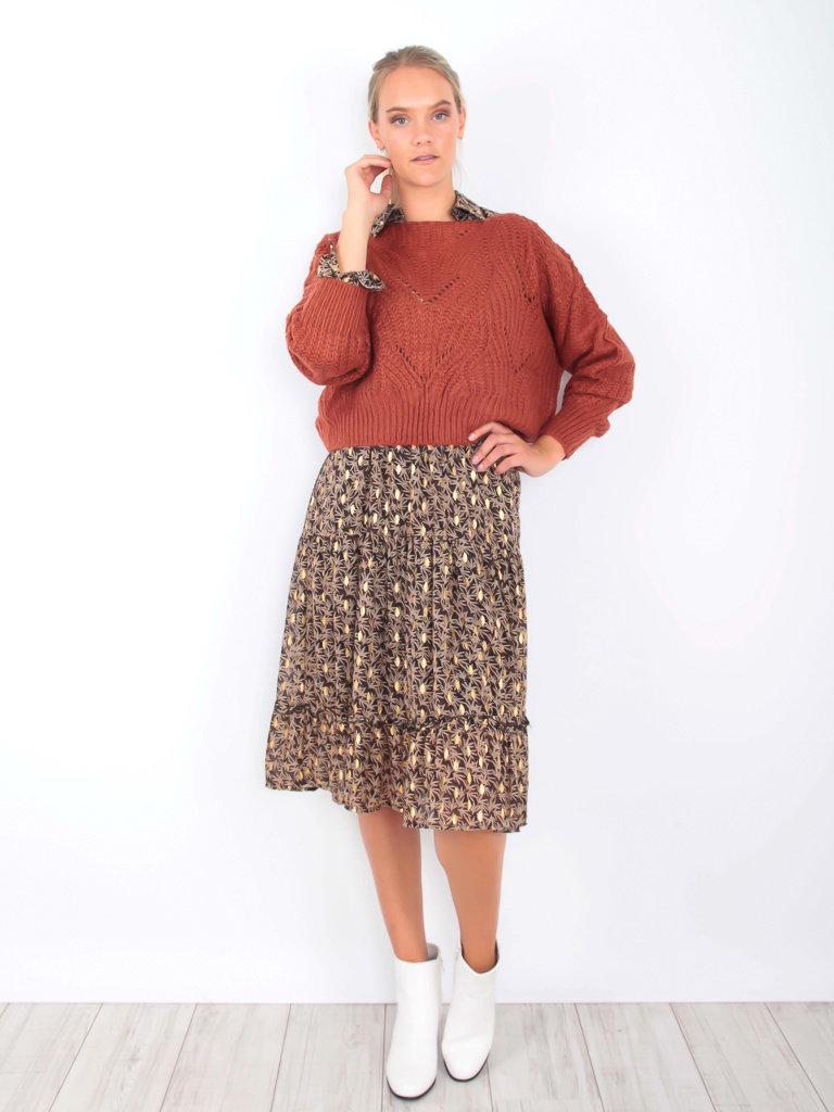 VINTAGE DRESSING Knit Crop Jumper Rust