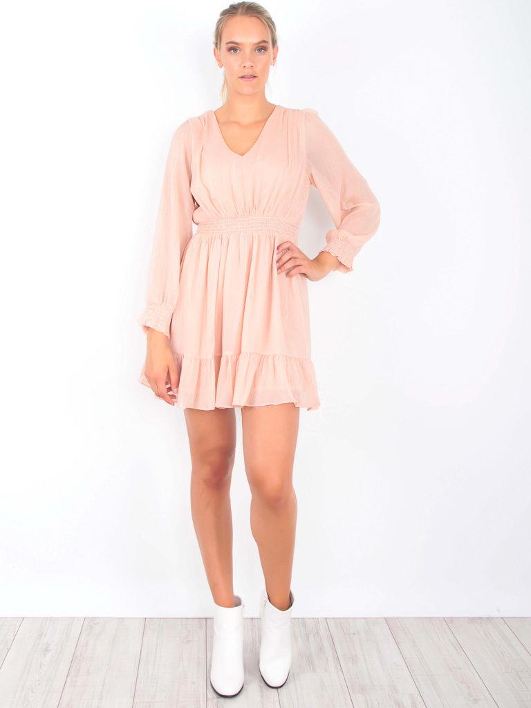 IVIVI Gold Detail V Back and Front Dress Pink