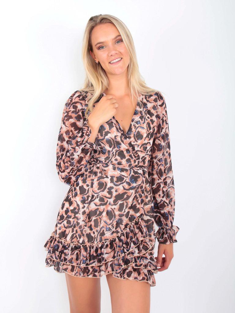 IVIVI Leopard Print Dress Blue Accent