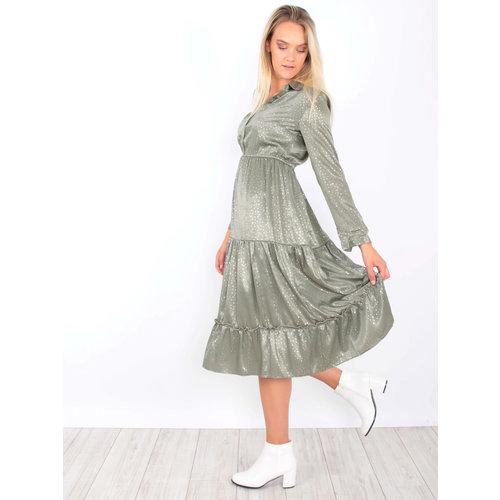 Satin Maxi Dress Gold Detail Green