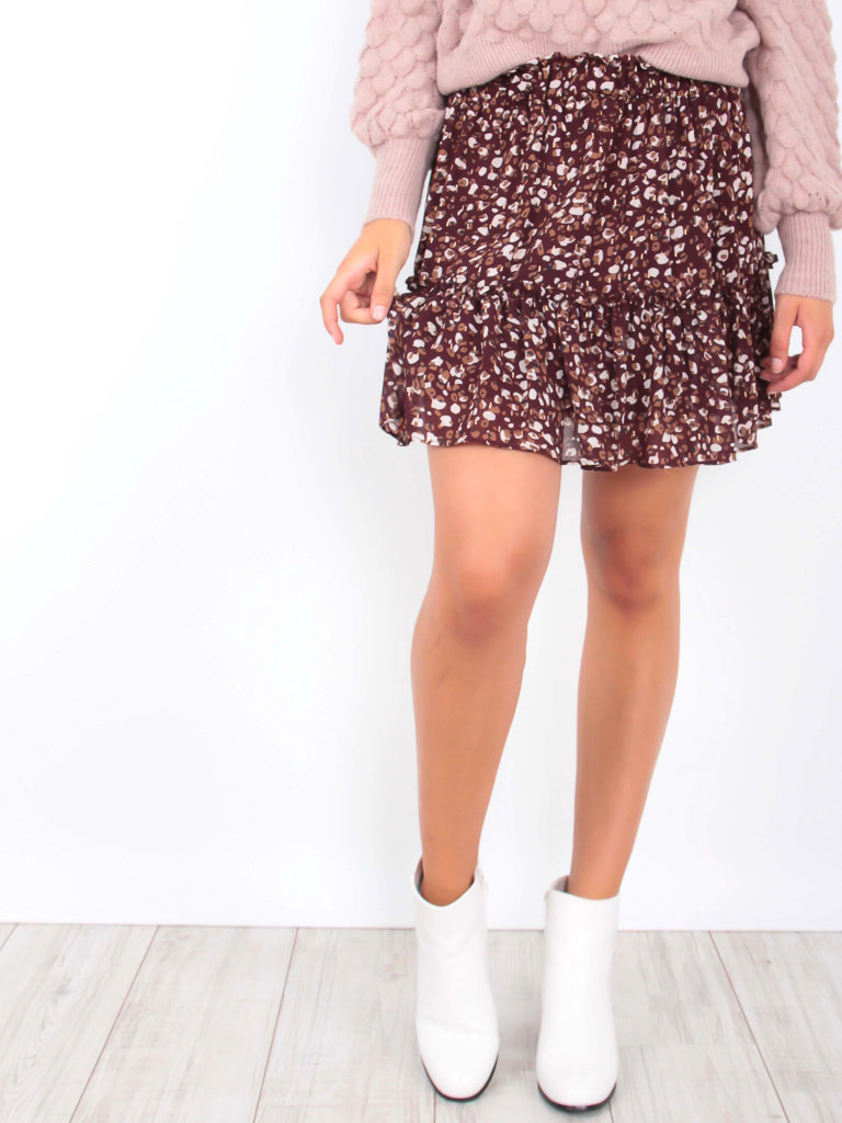 IVIVI Dot Print Skirt Red