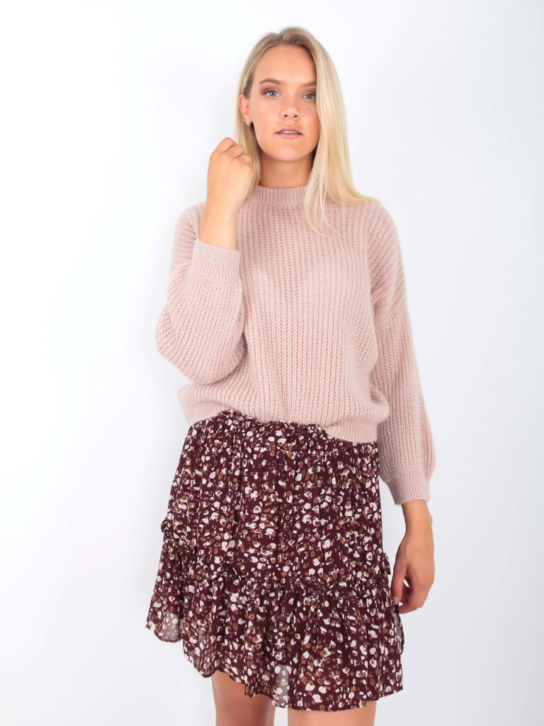 MISS MISS - LADYLIKE FASHION Knitted Jumper with Shimmer Pale Rose