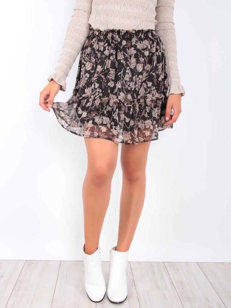 DRŌLE DE  COPINE Sheer Floral Print Skirt Black