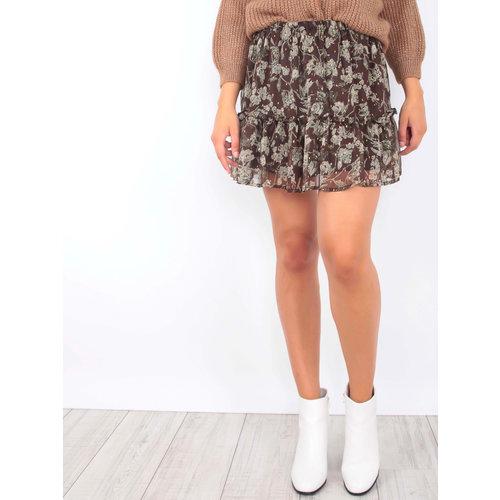 DRŌLE DE  COPINE-  LADYLIKE FASHION Sheer Floral Print Skirt Brown