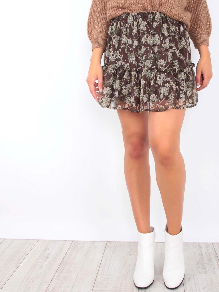 DRŌLE DE  COPINE Sheer Floral Print Skirt Brown