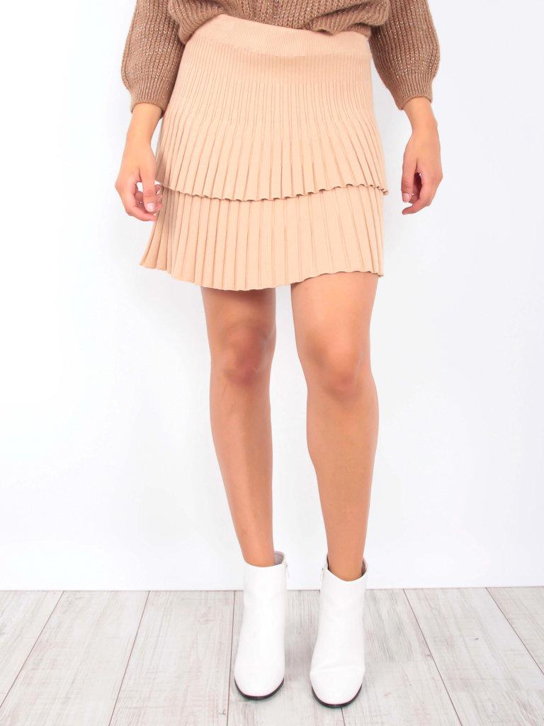 YU & ME - LADYLIKE FASHION Ribbed Knitted Skirt Camel