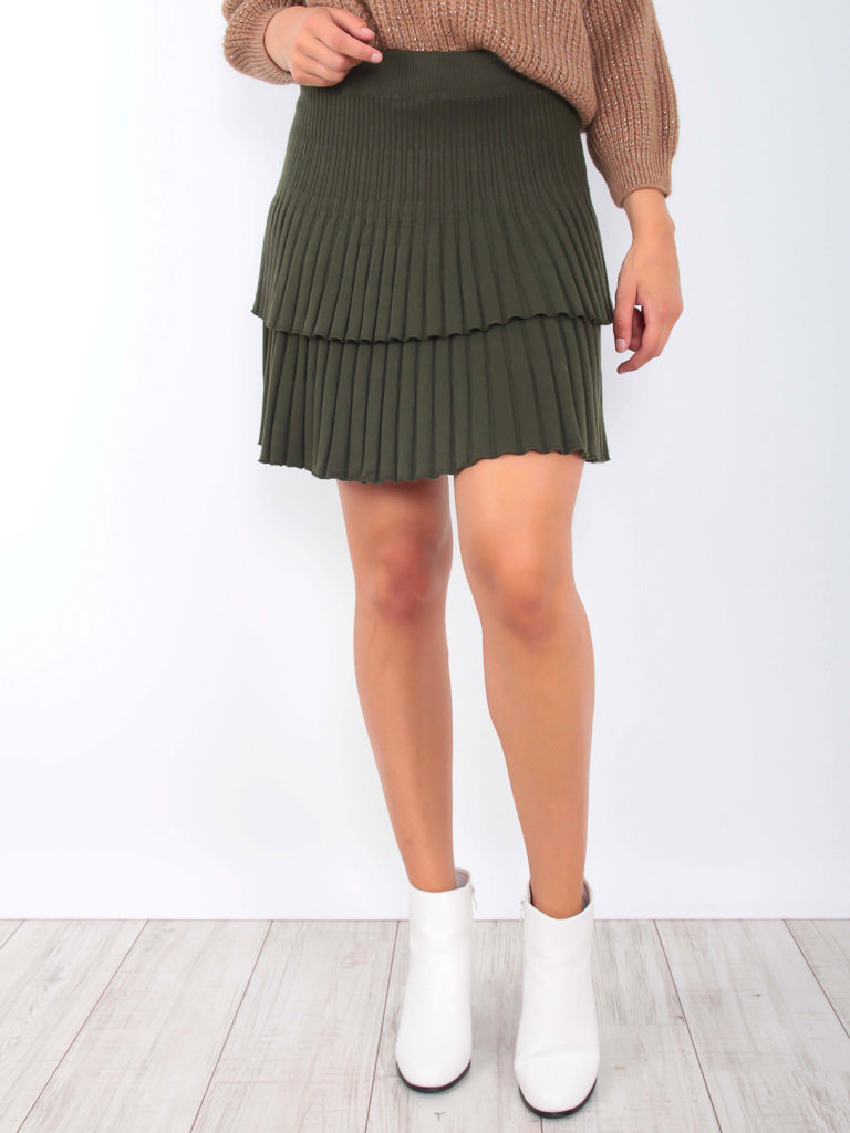YU & ME Ribbed Knitted Skirt Green