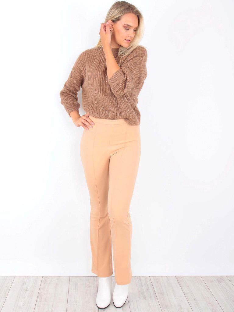 IVIVI - LADYLIKE FASHION Flared Trousers Beige