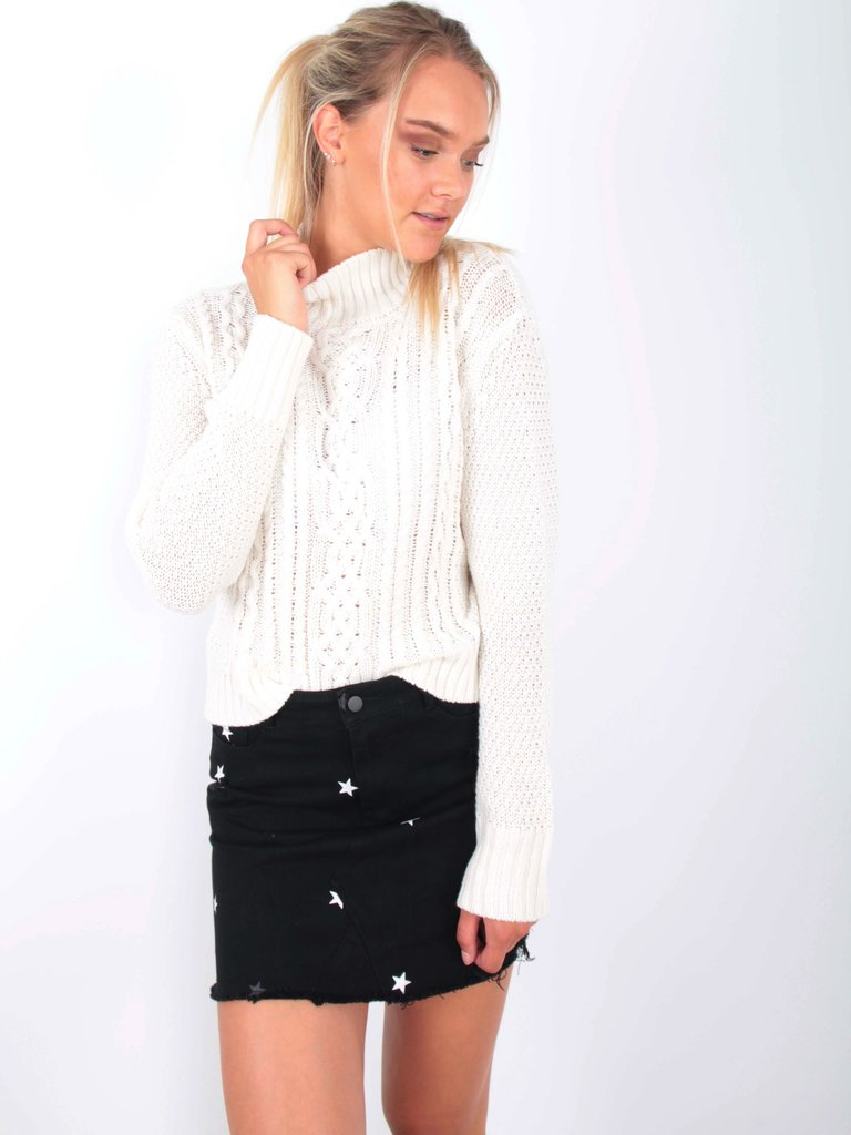MISS MISS Cable Knit Jumper Cream