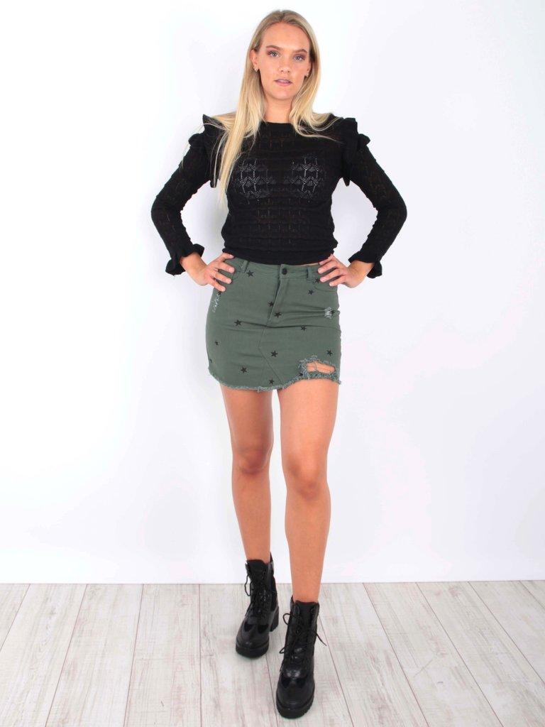 Star Prin t Skirt Green