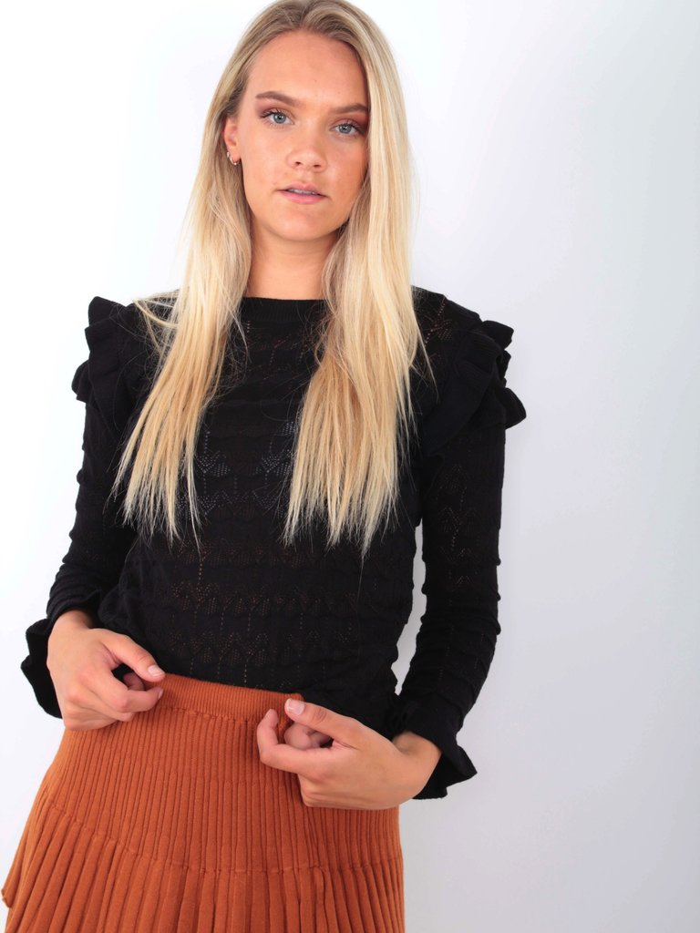 EMMA & ASHLEY Ajour Knit Jumper Black