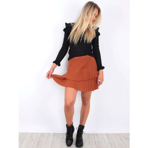 YU & ME Ribbed Knitted Skirt Orange